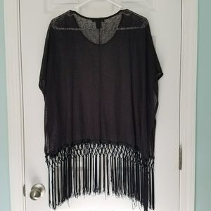 See You Monday fringe burnout poncho style top S